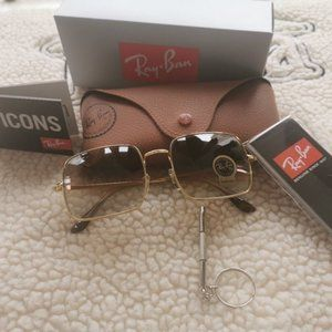 NEW Ray-Ban 1971 Light Brown Lens Square Sunglasses